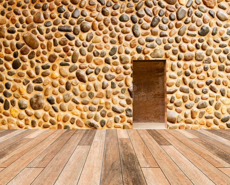 Steenmuur met houten weg vloer vooraan royalty-vrije stock afbeelding