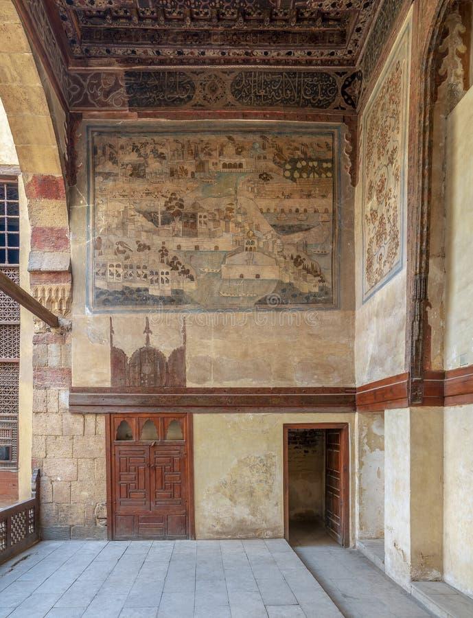 Steenmuur met muurschildering wordt verfraaid die de stad van Istanboel afschilderen bij Huis van ottomane het historische Waseel royalty-vrije stock afbeelding