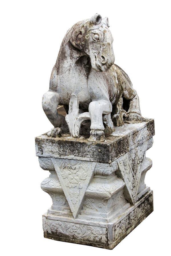 Steenpaard op het platform met Chinese stijl wordt gesneden die stock fotografie