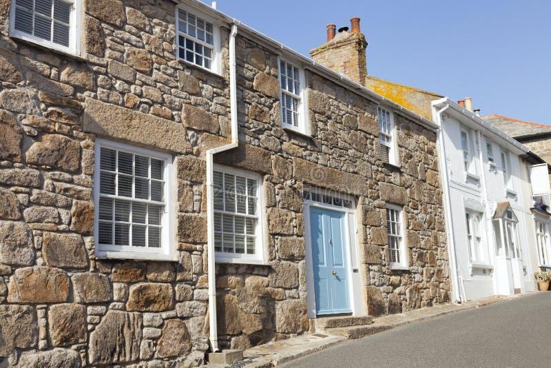 Steenplattelandshuisjes in de kuststad Van Cornwall van St Ives stock afbeeldingen