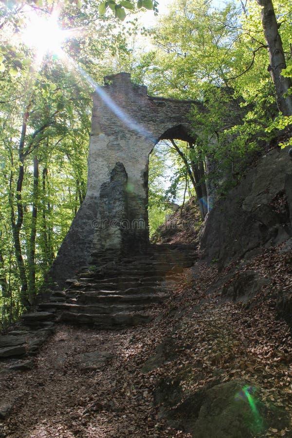 Steenpoort in bos met sterk licht Tsjechisch landschap royalty-vrije stock foto