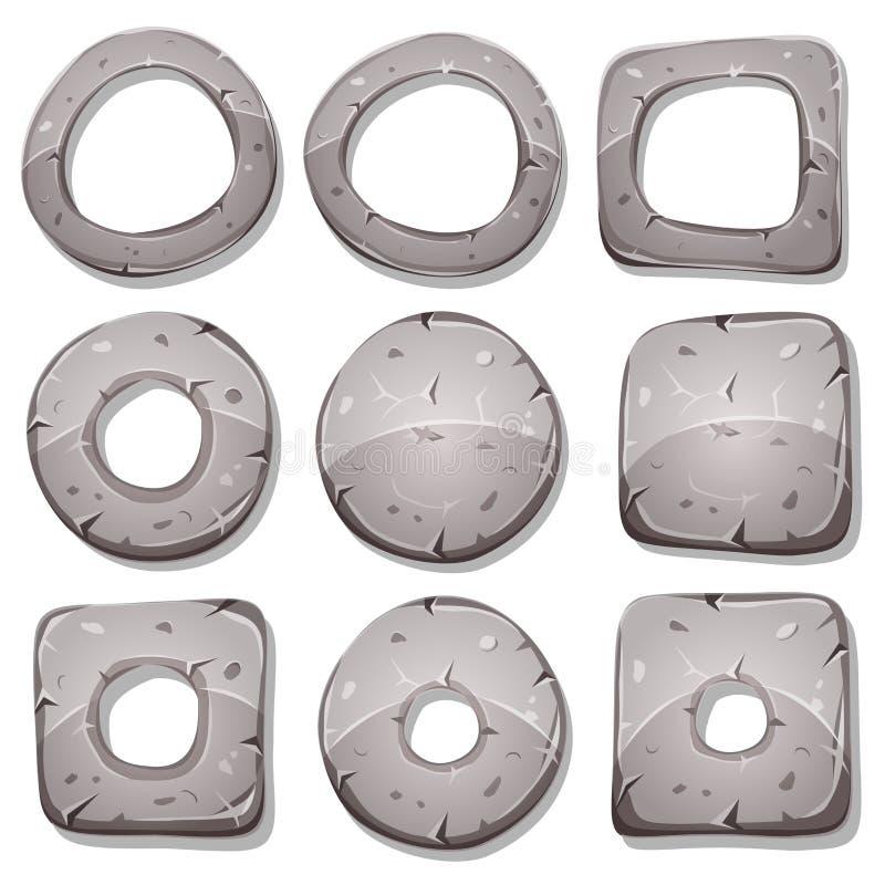 Steenringen, Cirkels en Vormen voor Ui-Spel vector illustratie