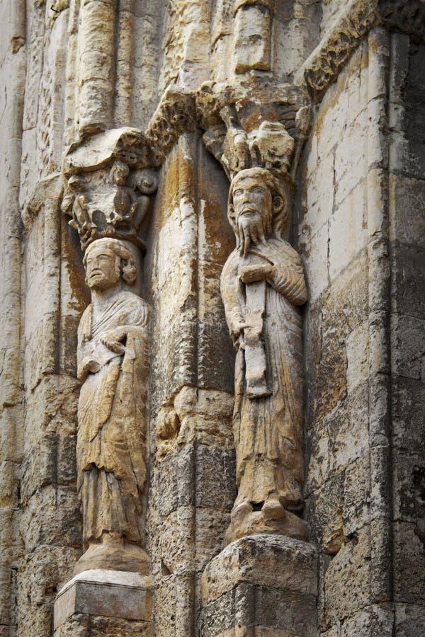 Steenstandbeelden in San Martin Medieval Church in Segovia, Spanje royalty-vrije stock foto's