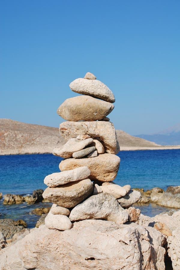 Steenstapel, Halki-eiland stock foto's