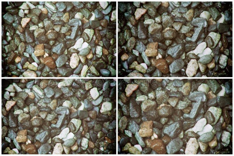 Steentextuur, het niveau van de rotsoppervlakte, kiezelsteenachtergrond voor website of mobiele apparaten stock fotografie