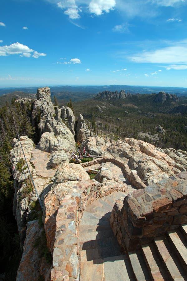 Steentrap die neer van Toren van het de Brandvooruitzicht van Harney de Piek in Custer State Park leiden stock fotografie
