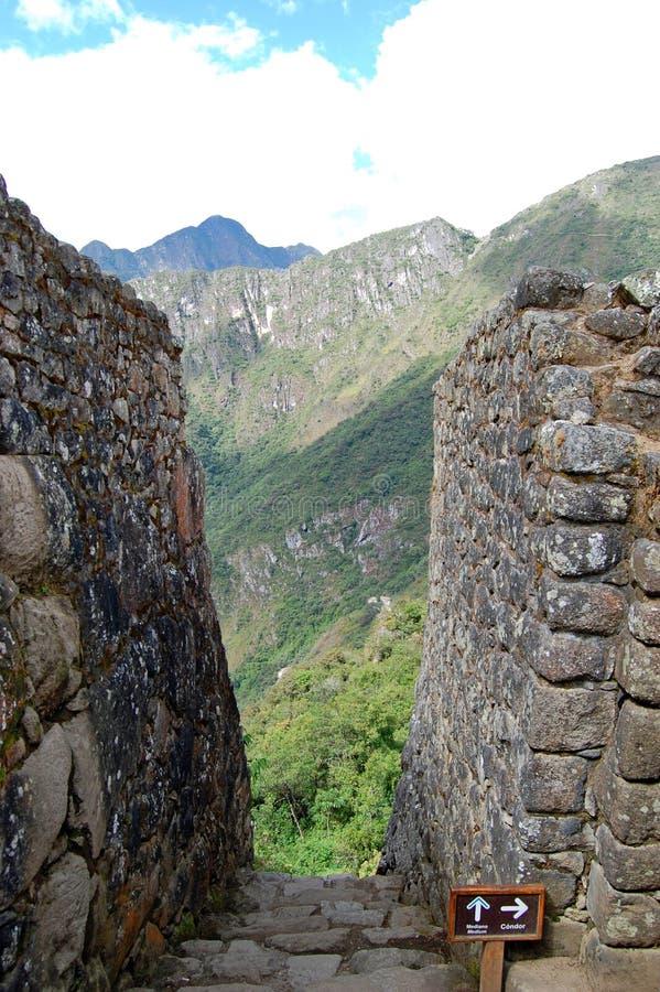 Steentreden in Machu Picchu stock foto's