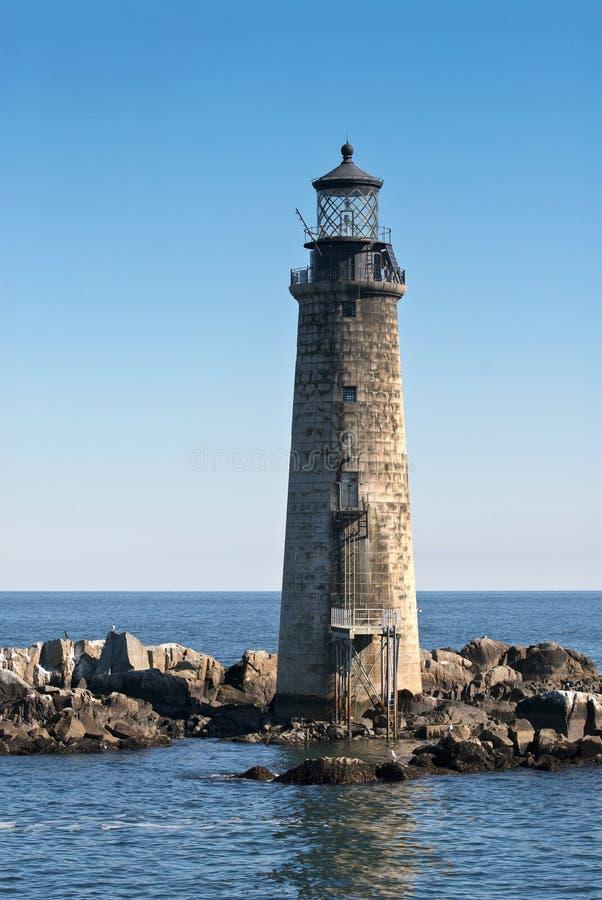 Steenvuurtoren op de Haven van Boston stock fotografie