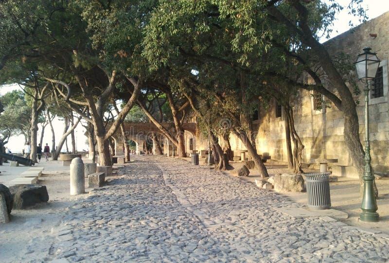 Steenweg in Lissabon stock foto's
