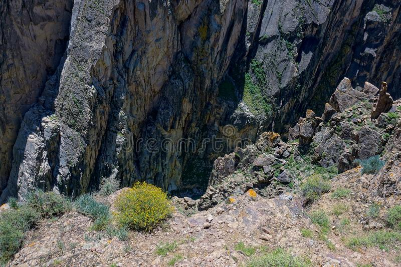 Steep cliff. The close-up of rock steep cliff stock photo