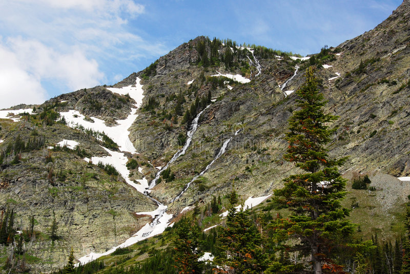 Steep cliff of snow mountain royalty free stock photography