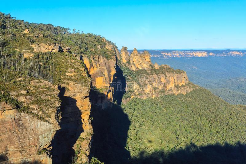 Steep cliffs in the Blue Mountains, New South Wales, Australia stock photo