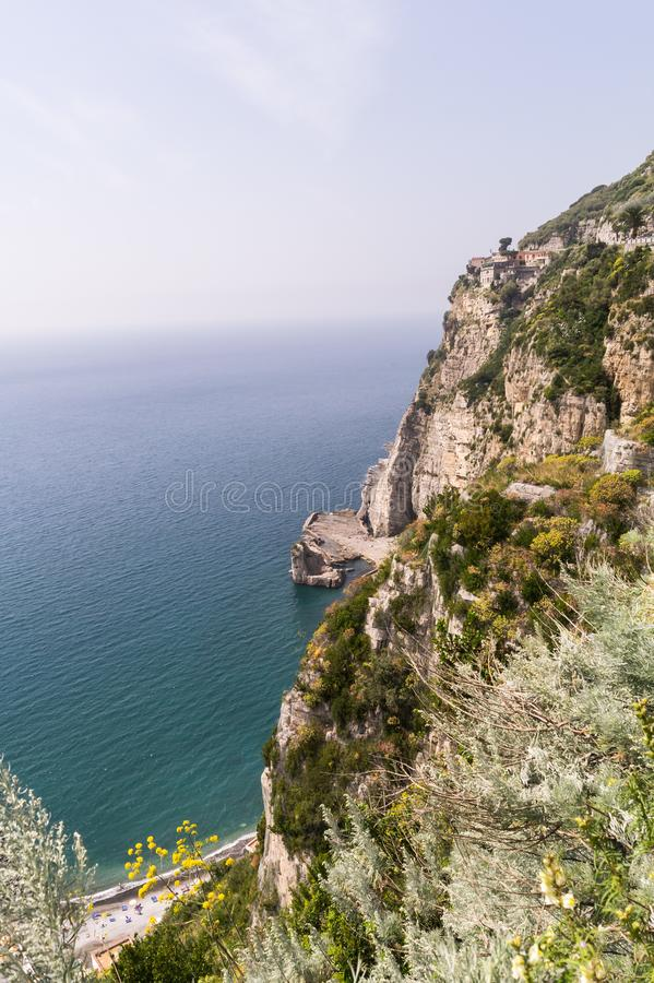 Steep cliffs leading down to the sea near Sorrento, Italy stock photography