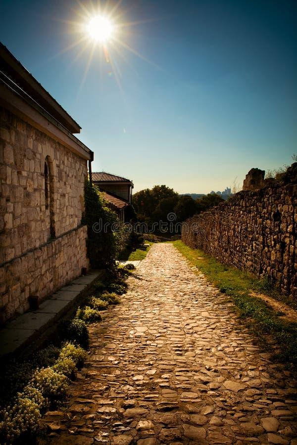 Steep cobblestone path royalty free stock photo