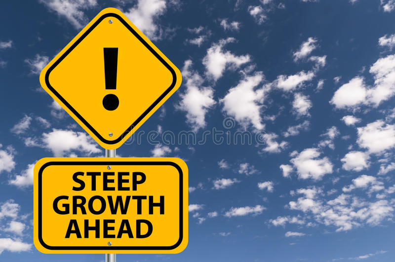 Steep growth ahead. Traffic style yellow warning sign inscribed with text ' steep growth ahead ' in black uppercase letters and exclamation symbol on second sign royalty free stock image