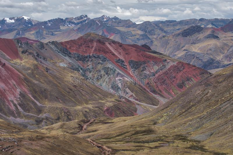 Steep mountain valley Vinicuna, Peru stock images