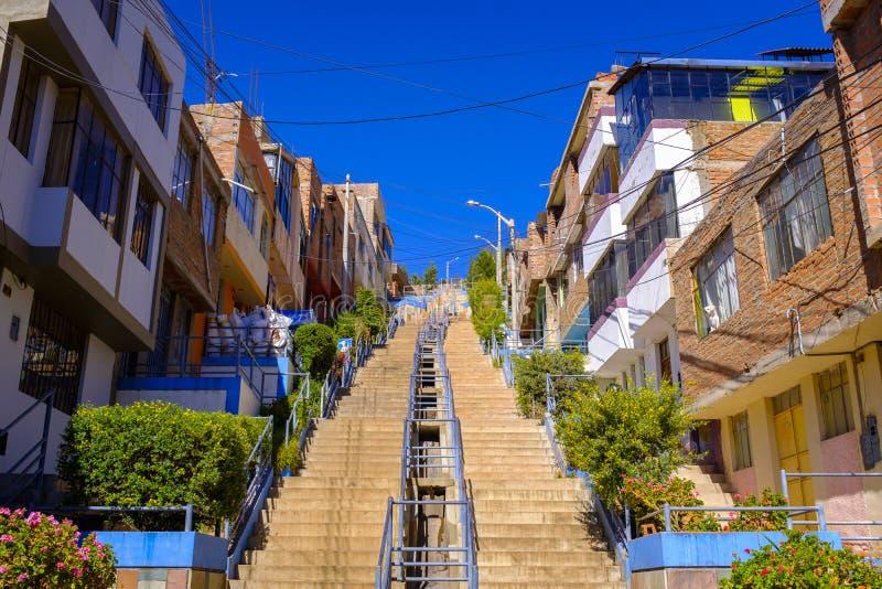 Steep stairway in Puno, Peru stock photo