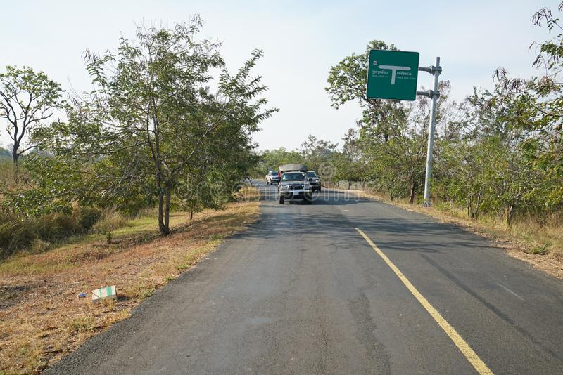 Steep road to Preah Vihear Temple checkpoint, Cambodia royalty free stock photography