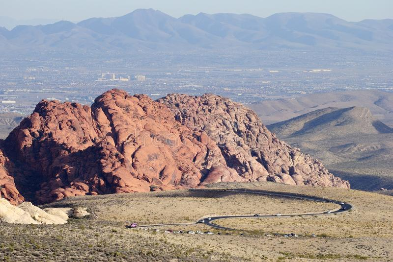 Red Rock Canyon rising in Nevada, USA, with scenic loop drive ro stock images