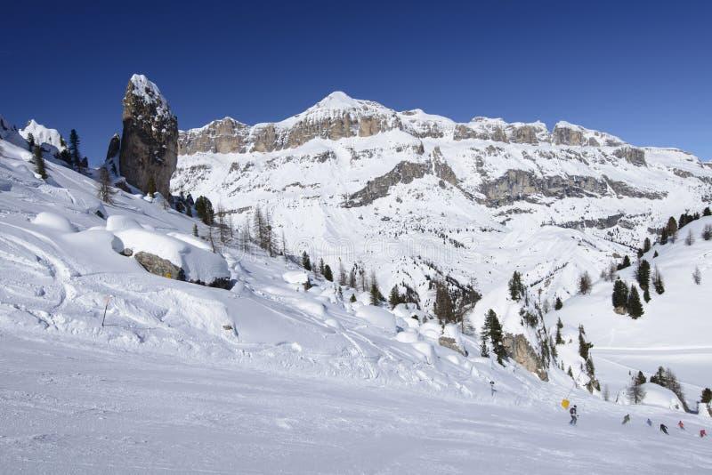 Steep ski run and Piz Boe', Arabba royalty free stock image