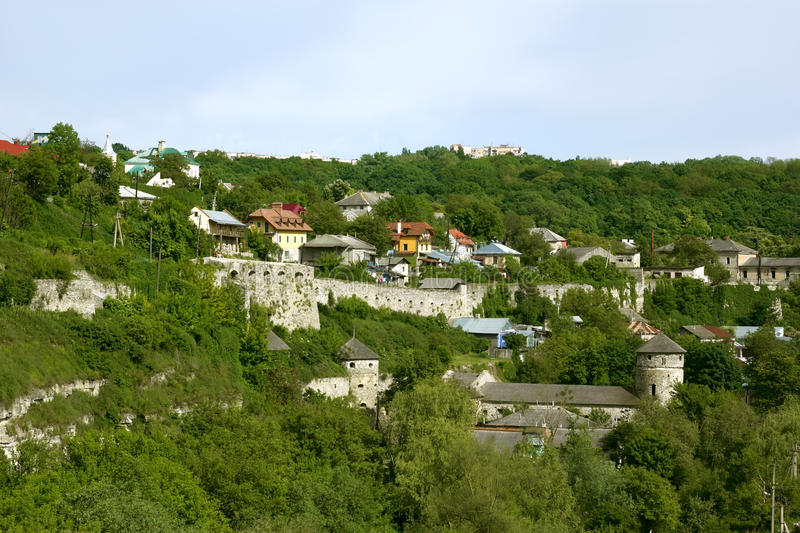 Steep slope in Kamianets-Podilsky, Ukraine. Steep slope near the Smotrych River in the city Kamianets-Podilsky, Ukraine. Modern buildings on the rocks along with stock image