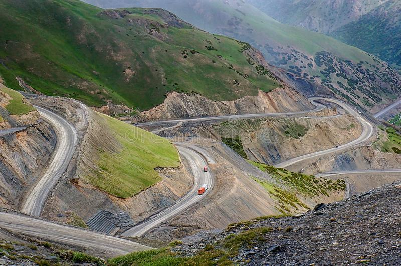 Steep slope of Pamir Highway M41 Highway stock images