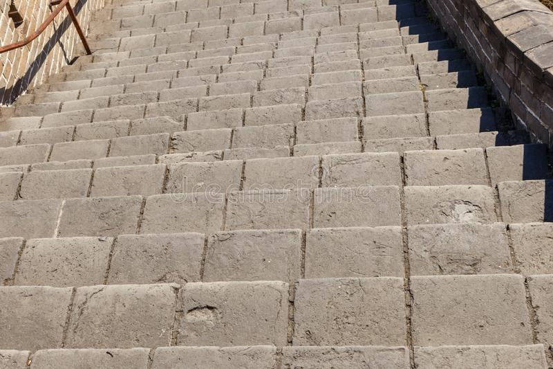 Steep stairs of the Great Wall of China.  stock photo