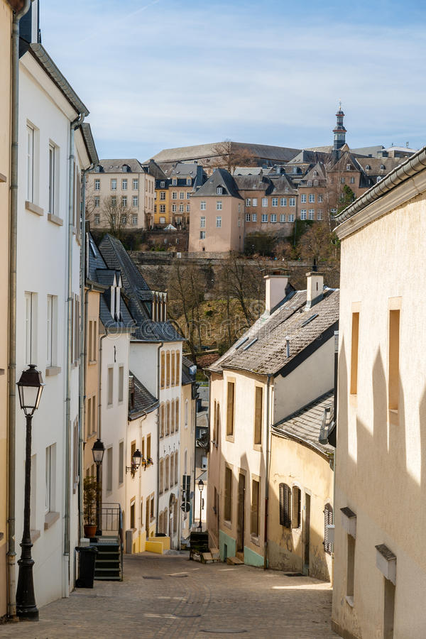 Download Steep street in Luxembourg stock image. Image of april - 30474567