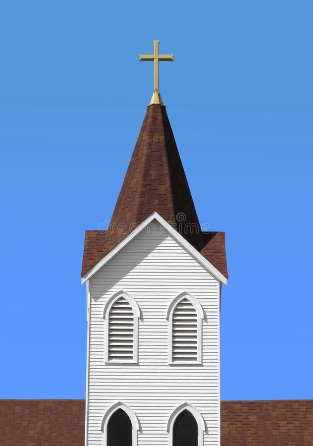 Steeple branco cristão da igreja com cruz   fotografia de stock royalty free
