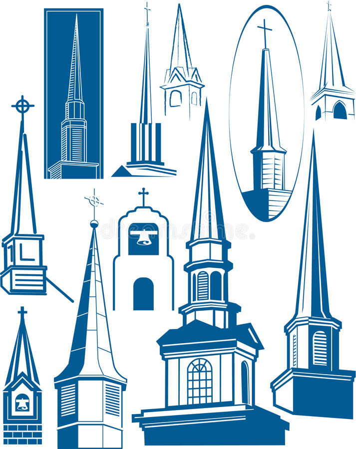 Download Steeple Collection stock vector. Image of steeple, tower - 20395773