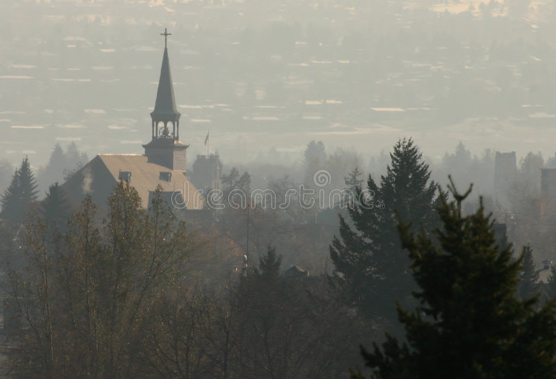 Steeple in Fog royalty free stock photos