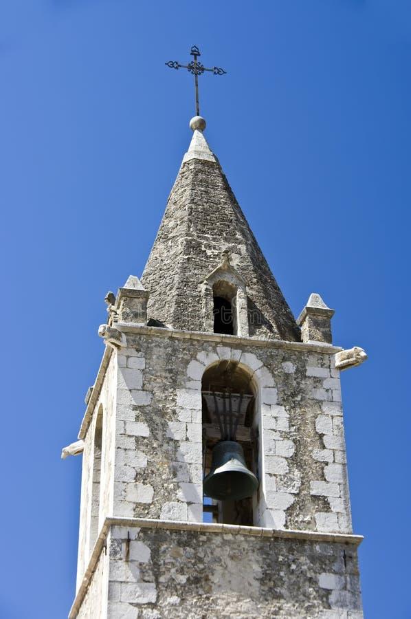 Steeple francês da igreja foto de stock