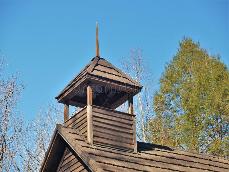 Steeple of 1897 Garden Creek Baptist Church. Garden Creek Baptist Church, located in Stone Mountain State Park in Low Gap, North Carolina, was built in 1897 and royalty free stock image