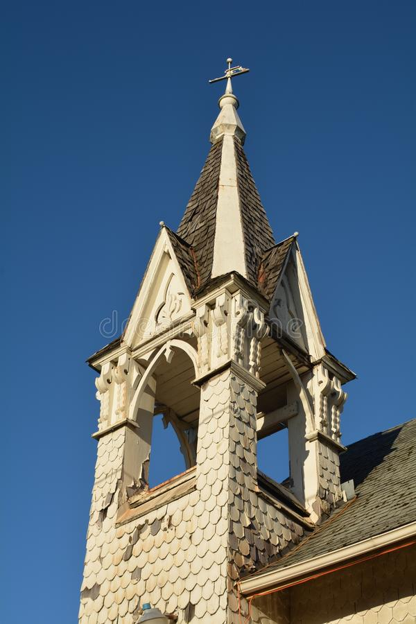 Cumberland Church Steeple, Albany, Oregon. This is the steeple of the historic Cumberland Church in Albany, Oregon. The church is a restoration project. Built in royalty free stock photography