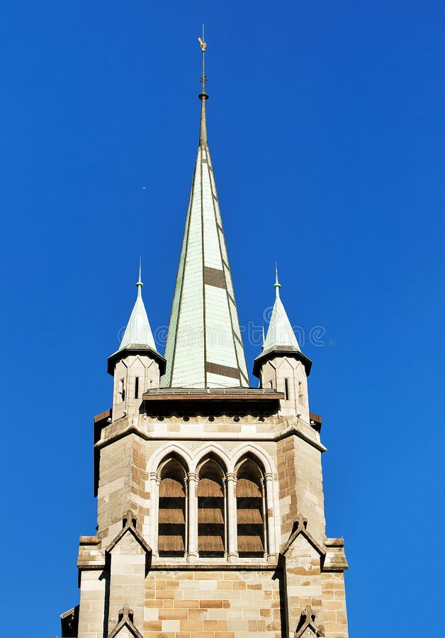 Free Steeple Of St Francois Church In Lausanne Stock Images - 89976584