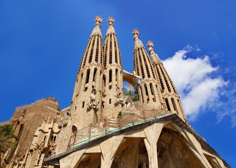 Steeples of Sagrada Familia in Barcelona in Spain stock photos