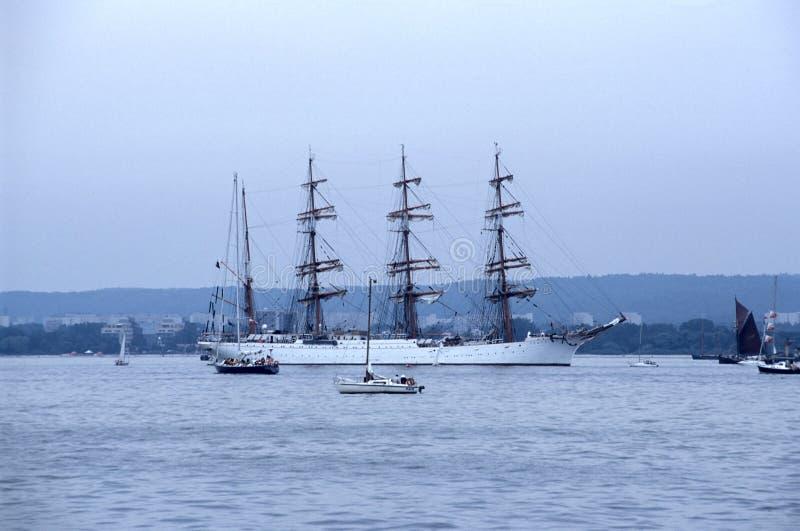 Steerboard of huge Russian sailship Sedov stock photo