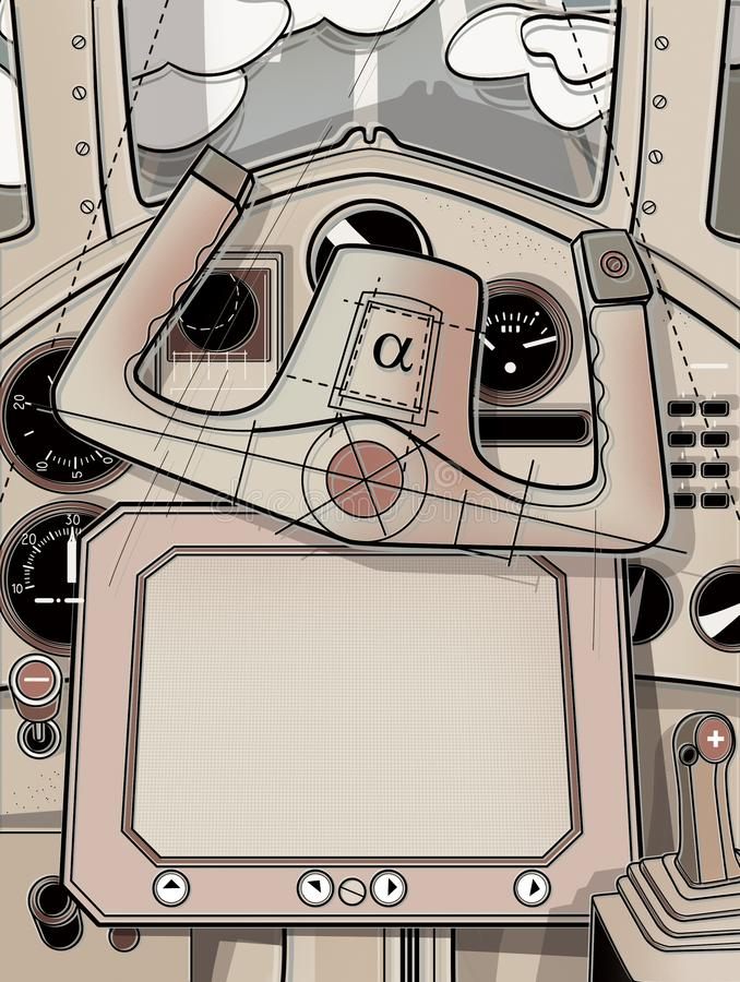 Steering cabin and the helm of the plane. View from the cockpit of the pilot. Digital illustration.  stock illustration