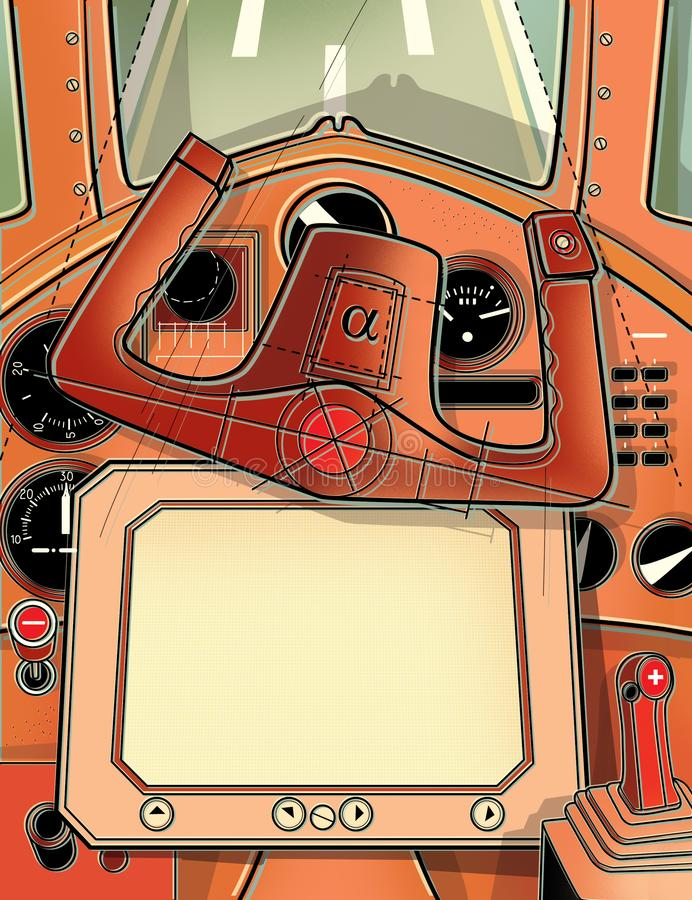 Steering cabin and the helm of the plane. View from the cockpit of the pilot. Digital illustration. Steering cabin and the helm of the plane. View from the vector illustration
