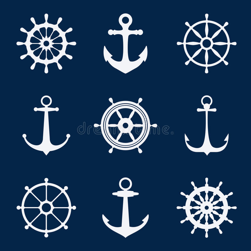 Steering ship wheels and anchors icons. Naval navigation vector signs stock illustration