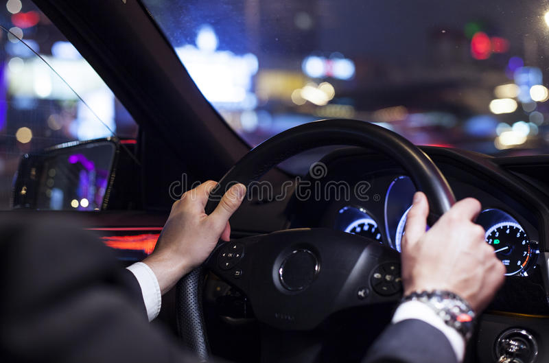 Steering wheel of a car royalty free stock photos