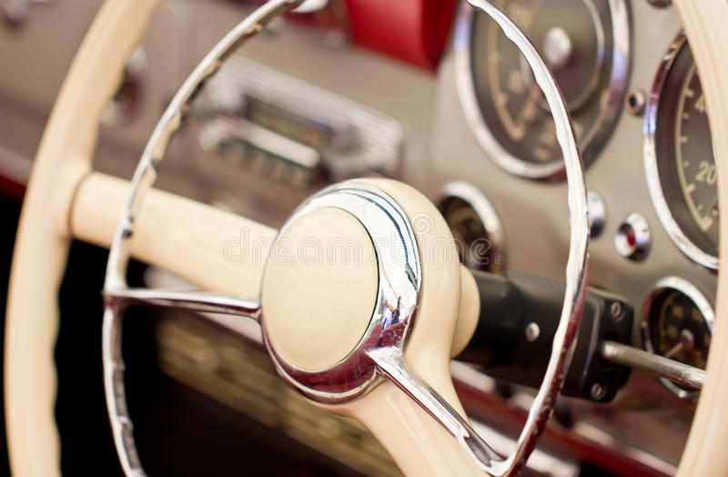 Steering Wheel On Classic Car. stock photo