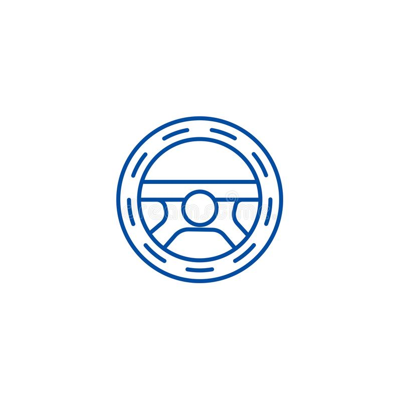 Steering wheel,driving line icon concept. Steering wheel,driving flat  vector symbol, sign, outline illustration. Steering wheel,driving line concept icon royalty free illustration