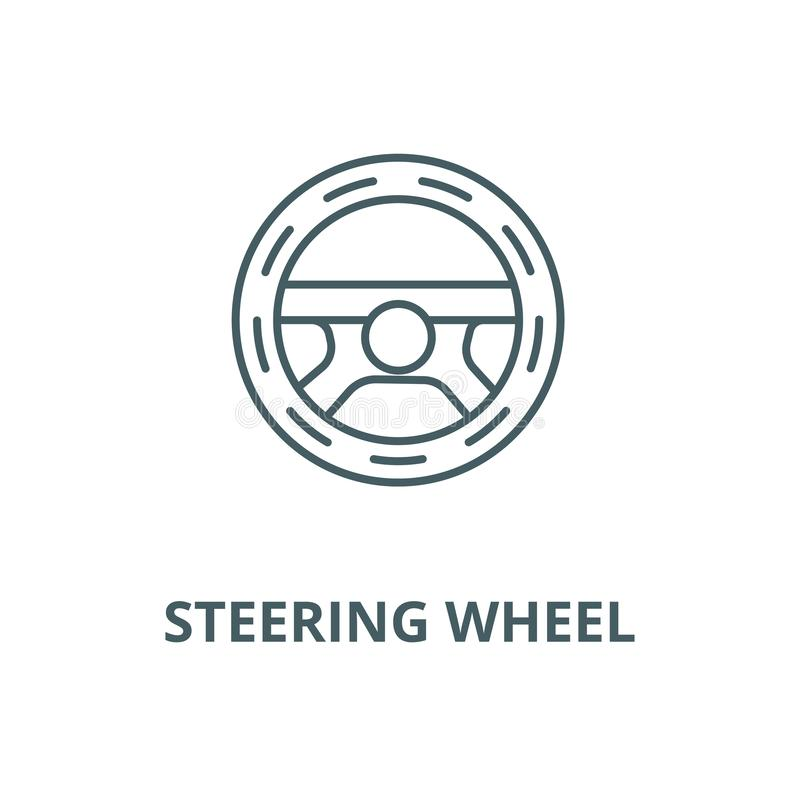 Steering wheel,driving vector line icon, linear concept, outline sign, symbol. Steering wheel,driving vector line icon, outline concept, linear sign royalty free illustration