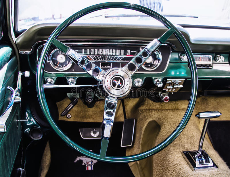 Steering wheel of Ford Mustang royalty free stock photos