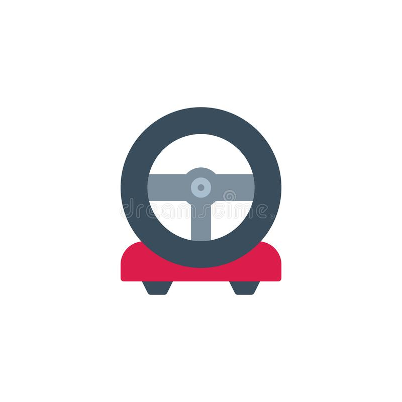 Steering Wheel Game Console flat icon. Vector sign, colorful pictogram isolated on white. Racing game steering wheel symbol, logo illustration. Flat style vector illustration