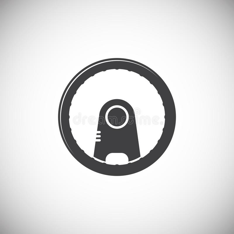 Steering wheel icon on background for graphic and web design. Simple illustration. Internet concept symbol for website. Button or mobile app royalty free illustration