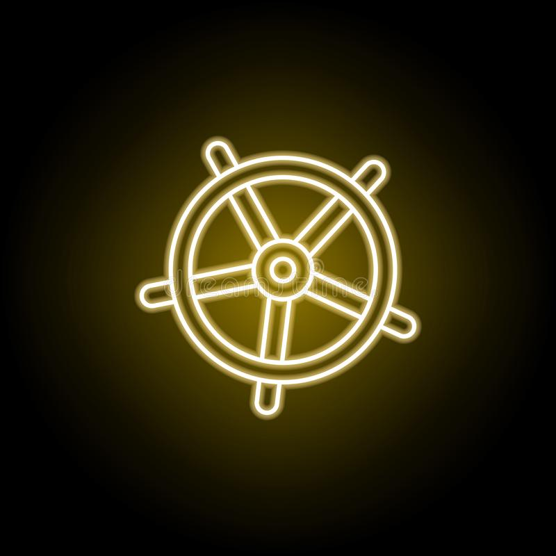 Steering wheel icon in neon style. Element of travel illustration. Signs and symbols can be used for web, logo, mobile app, UI, UX. On black background royalty free illustration