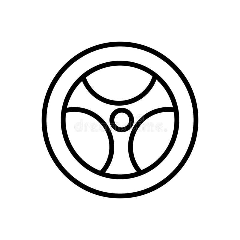 Steering wheel icon vector isolated on white background, Steering wheel sign , linear symbol and stroke design elements in outline. Steering wheel icon vector royalty free illustration