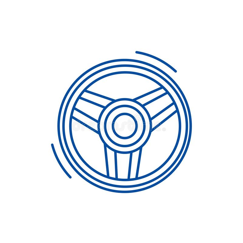 Steering wheel  line icon concept. Steering wheel  flat  vector symbol, sign, outline illustration. Steering wheel  line concept icon. Steering wheel  flat stock illustration